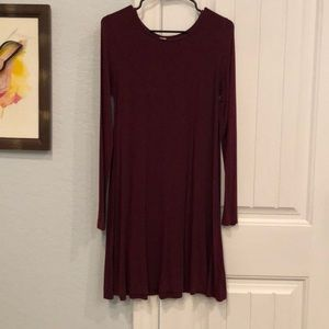 LS wine colored Tshirt dress